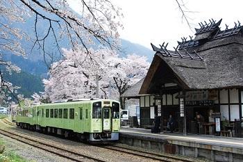 湯野上温泉駅と桜
